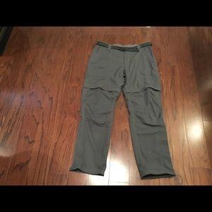 LL Bean gray convertible shorts pants L Reg